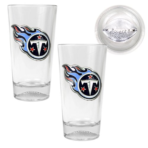 NFL Tennessee Titans Pint Ale Primary Logo Glass Set with Football Bottom (2-Piece), Clear Glass