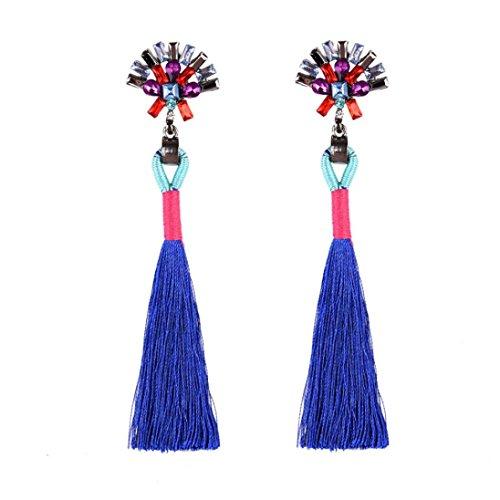 Beuu Diamond Earrings Fringe Ear Clips Vintag Rhinestones Crystal Tassel Dangle Stud Fashion Jewelry