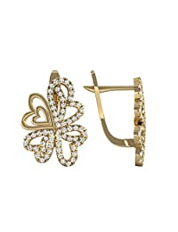 3djewels Women's 1.09 Cts Round Simulated Dimaond Hearts Stud Earring 14K Yellow Gold Fn