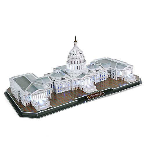 CubicFun 3D Puzzles U.S. Capitol Washington LED Architecture Building Model Kits Toys for Adults Lighting Up in Night -