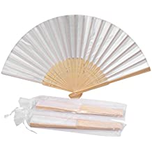 Sepwedd 50pcs White Imitated Silk Fabric Bamboo Folded Hand Fan Bridal Dancing Props Church Wedding Gift Party Favors with gift bags