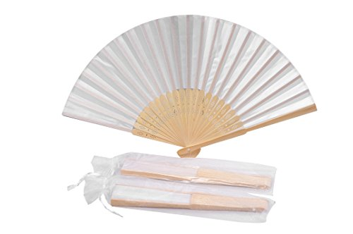 Hand Fans For Wedding (Sepwedd 50pcs White Imitated Silk Fabric Bamboo Folded Hand Fan Bridal Dancing Props Church Wedding Gift Party Favors with Gift)