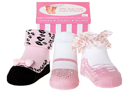 Baby Emporio - Baby Girl Socks that look like Shoes-Keepsake Gift Box-Cotton-Anti-slip-3 pr (0-9 Months, Pink Party Socks)