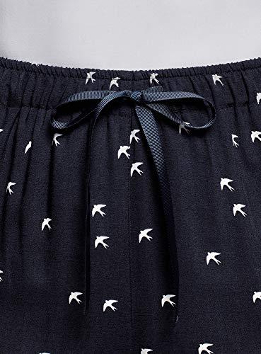 In 7912o Oodji Con Blu Viscosa Donna Pantaloni Laccetti Ultra qq8f4t
