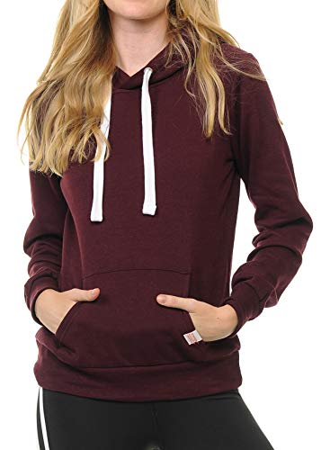 Urban Look Womens Active Long Sleeve Fleece Lined Fashion Hoodie Pullover with Plus Sizes (Medium, A1 Solid_Maroon) ()