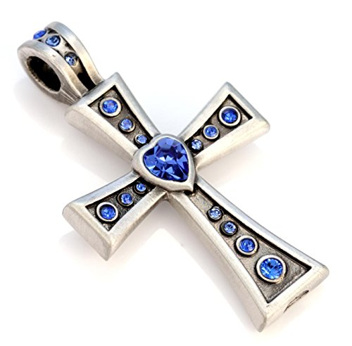Crystal Loop Cross (Bico Corazon Crystal Pendant (CR42 Blue) - passion, devoted - Swarovski Crystal Cross Jewelry)