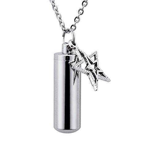 Bluesnow Cylinder Bottle Star Urn Keepsake Pendant Necklace Memorial Ash Keychain Cremation Jewelry ()