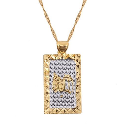 Platinum 24K New Islamic Allah Pendant Charms Choker Necklace Religious Muslim Jewelry (Platinum Gold Pendant)