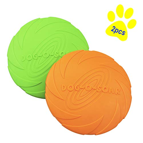Dog Flying Disc Toy Dog Frisbee Interactive Dog Toys Soft Natural Rubber Disk for Safety Floating Water Dog Toy Suitable for Small Medium or Large Dogs Outdoor Flight 2 Pcs (7.1In, Orange & Green) ()