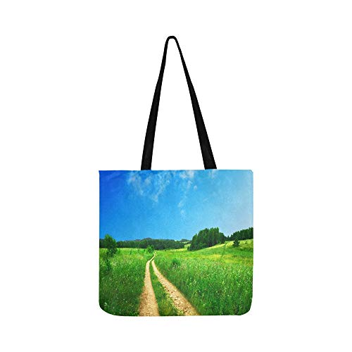 Nature Country Road Field With Green Meadow Blue S Canvas Tote Handbag Shoulder Bag Crossbody Bags Purses For Men And Women Shopping Tote