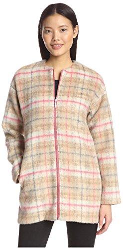 Bernardo Women's Plaid Zip Coat, Beige, L