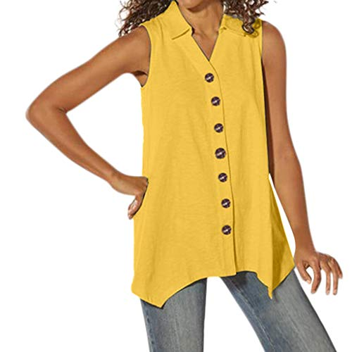 RUIVE Women's Button Vest Casual Summer Sleeveless Irregular Turn-Down Collar Loose Plain Blouse Top Yellow