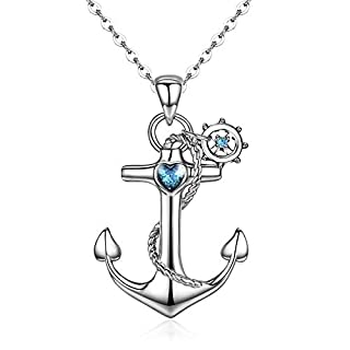 Cuoka Anchor Necklace, Sterling Silver Anchor Pendant Sailor Necklace Nautical Jewelry Anchor Jewelry for Women Gifts for Best Friend (Silver1)