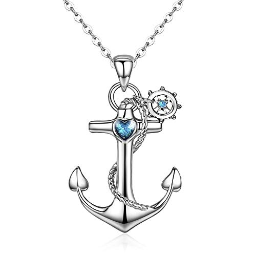 Cuoka Anchor Necklace, Sterling Silver Anchor Pendant Sailor Necklace Nautical Jewelry Anchor Jewelry for Women Gifts for Best Friend (Silver1) -