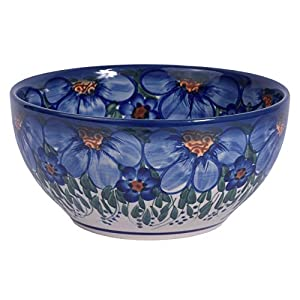 Traditional Polish Pottery, Handcrafted Ceramic Salad or Cereal Bowl, Boleslawiec Style Pattern, M.702.CREDO