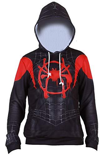 Kids Spider-Verse Miles Morales Zentai Cosplay Costume Jumpsuit (S, Hoodie) -