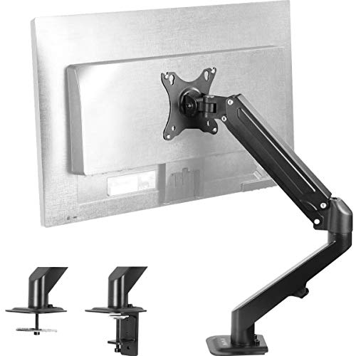 VIVO Black Articulating Single Pneumatic Spring Arm Clamp-on Desk Mount Stand | Fits 1 Monitor Screen 17 to 27 inches with Max VESA 100x100 (STAND-V101O)