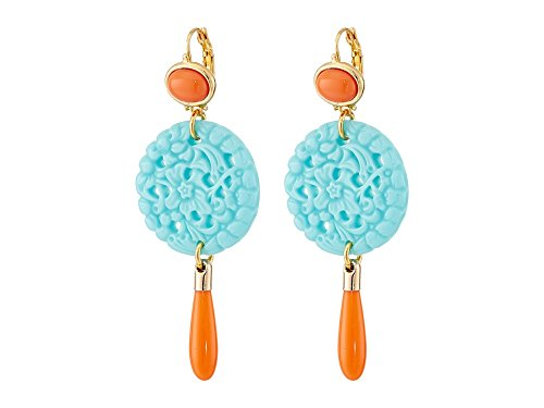Kenneth Lane Coral Earrings - Kenneth Jay Lane Women's 7849ECTCP Small Gold and Top with Carved and Drop wire Earrings Coral/Turquoise One Size