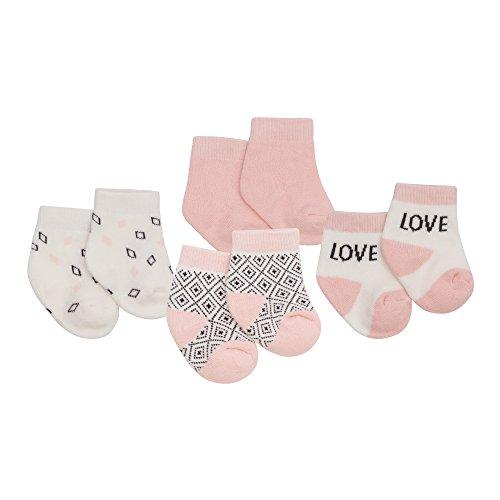 Petit Lem Girls Baby 2-Pack Socks, Organic Cotton, Adorable and Soft, light pink, 6M/9M