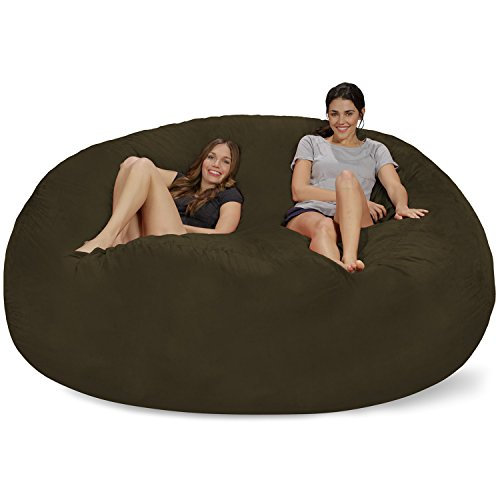 Chill Sack Bean Bag Chair: Giant 8' Memory Foam Furniture Bean Bag - Big Sofa with Soft Micro Fiber Cover - Olive - High Back Microsuede Chair