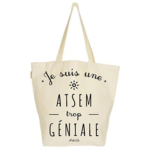 Imprimé tout Toile Bio Cabas Sac Bag ATSEM suis Grand Tote trop XL Fourre 37x45x20cm géniale Je une XItnq