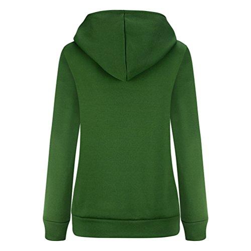 WanYang Mujeres Sudadera Con Capucha Manga Larga Hooded Sweatshirt Casual Sportswear Sudadera Pullover Para Mujere Verde