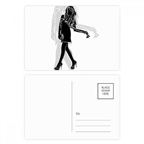 Hot Beautiful Woman Silhouettes Stand Postcard Set Birthday Thanks Card Mailing Side 20pcs by DIYthinker