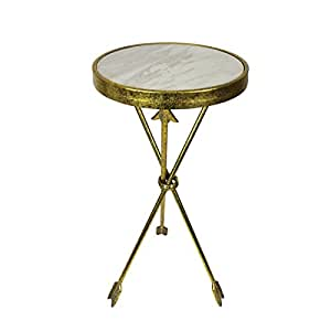 """Urban Designs Arrow Marble Round Side Table, 30"""""""