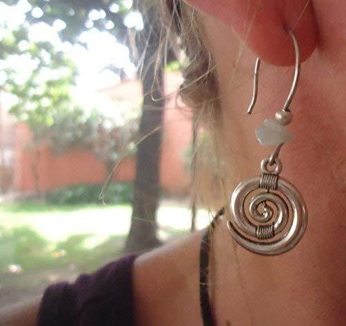 ✿ BOHO ETHNO espiral de piedra ✿ largo gancho pendientes