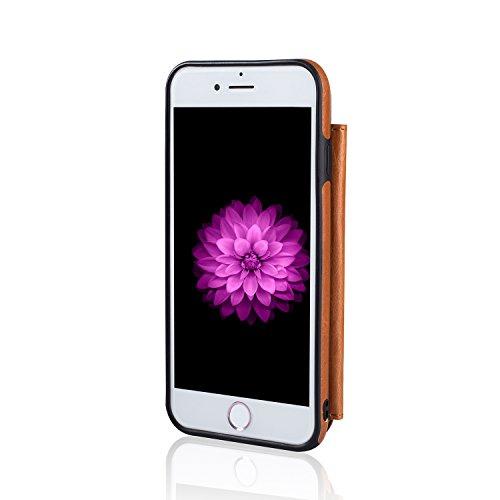 Für iPhone 7 8 Hülle, Aearl Retro Multifunktional Reißverschluss Wallet Schutzhülle Handy Geldbeutel Kartenetui TPU Bumper PU Leder Kartenhalter Flip Ständer Handyhülle mit Displayfolie für iPhone 8 7 Braun