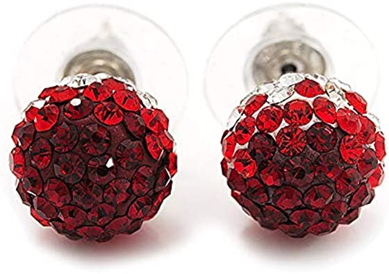 Dainty Ruby Red Rhinestone Ball Earrings ON sterling Posts for Pierced Ears Red Crystal Ball Earrings Tinny Red Ball Earrings Sterling
