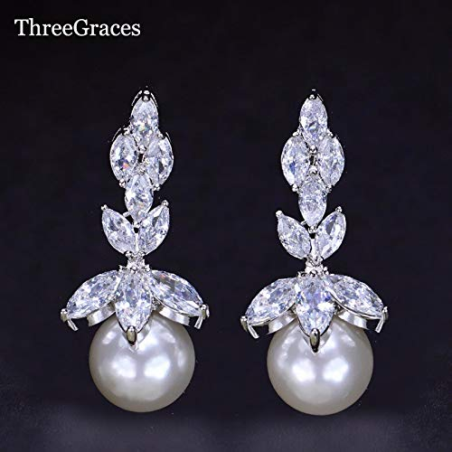 (Elegant Bridal White Gold Color Marquise Shape Clear Cubic Drop Pearl Earrings for Wedding Er136 (as Photo))