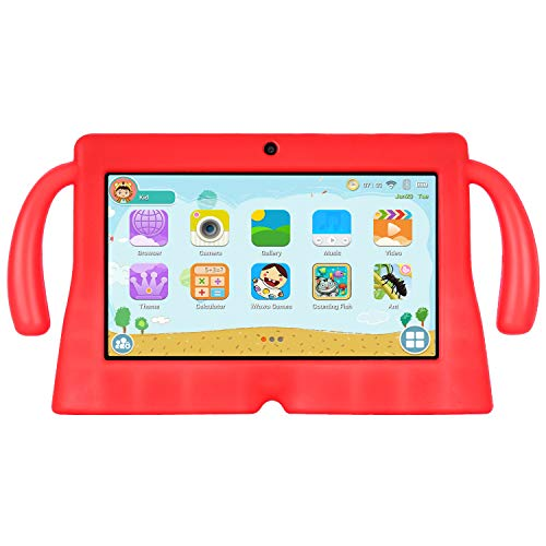 Xgody 7 Inch HD Android Kids Tablet for Kids Quad Core Android 8.1 1GB RAM 16GB ROM Touch Screen with WiFi Pre-Loaded 3D Game Dual Camera Red