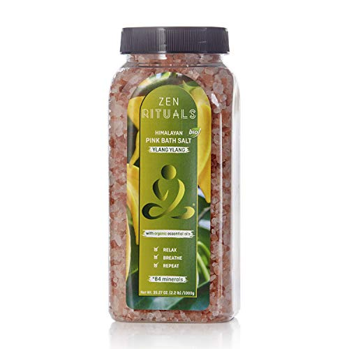 Essential Oils Bath Salt - Zen Rituals Himalayan Bath Salt With Organic Essential Oil Ylang Ylang, 2.2 lbs.