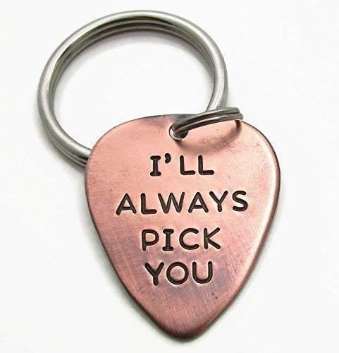 I'll Always Pick You Guitar Pick Keychain - Hand Stamped Copper Guitar Pick Keychain - Personalized Guitar Pick Keychain