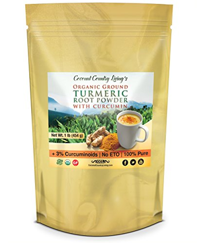 Organic Turmeric Root Powder with Curcumin 1 lb, Premium Grade Raw Spice for Health and Supplement