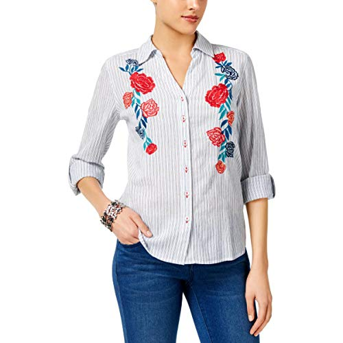 (Style & Co. Womens Floral Embroidered Button-Down Top White L)
