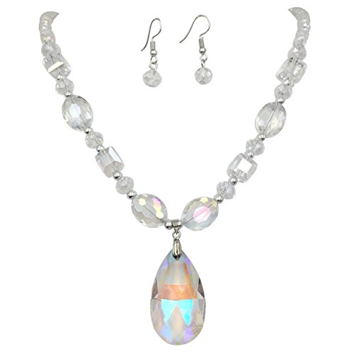 - All Glass Simple Beaded Teardrop Dangle Statement Necklace Earrings Set (Clear AB)