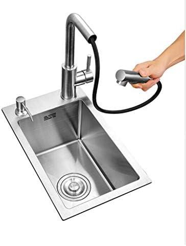 ステンレスキッチンシングルシンク、ホームキッチンシンク、シンク、ダイニングルーム、キッチン、バルコニーで使用-280x460x220mm
