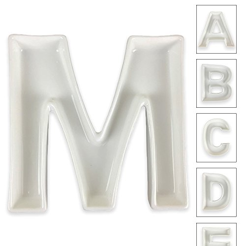Shaped Serving Dish - Just Artifacts - 5.5inch White Ceramic Letter Dish - Letter: M - Decorative Dishes for Weddings, Anniversarys, Baby Showers, Birthday Parties and Life Celebrations!