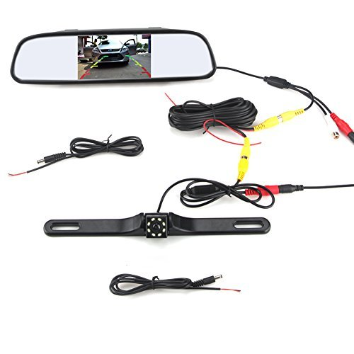 Waterproof Backup Camera and Monitor kit,4.3 inch Backup Camera & Rear View Monitor Reversing Parking Mirror Reverse System + LED Night Vision Cam,Tft-lcd Rearview Parking Monitor Assembly by Rodam