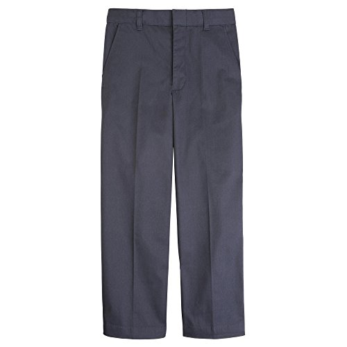 French Toast Big Boys' Flat Front Double Knee Pant with Adjacent Waist and Hem, Grey, 12