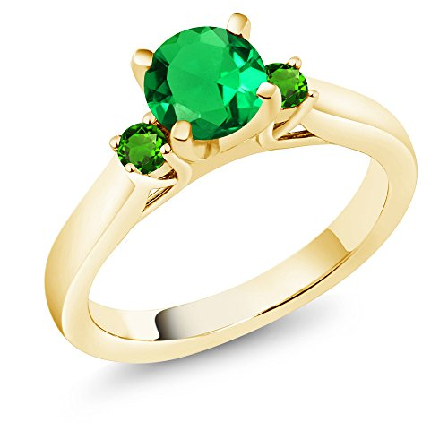 Gem Stone King 1.05 Ct Simulated Emerald & Tsavorite 18K Yellow Gold Plated Silver 3-Stone Ring (Size 5)