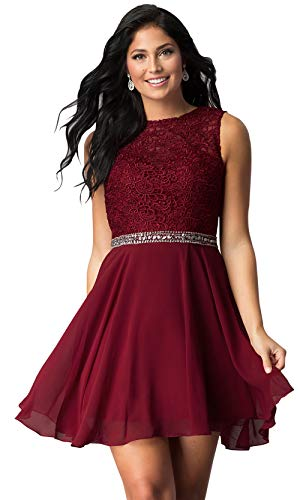Zhongde Women's Jewel Neck Beaded Lace Prom Dress Open Back Short Chiffon Bridesmaid Dress Burgundy Size - Jewel Neck Beaded