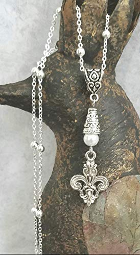 Fleur de Lis Necklace on Sterling Silver Chain White Accent