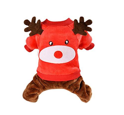 Barlingrock Dog Clothes Christmas for Small Dog, Pet Clothes Dog Coats Dog Dog Sweatershirt, Winter Warm Pet Dog Soft Flannel Elk Antler Sweater Clothing Four Feet Puppy - Faux Antler Elk