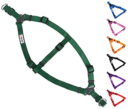 GoGo Pet Products Comfy Nylon 3/8-Inch Adjustable Easy Pet Harness, X-Small, Hunter - Hunter Green Adjustable Harness
