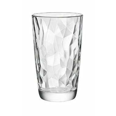 Bormioli Rocco Diamond Cooler Glasses, Clear, 16 oz, Set of 6