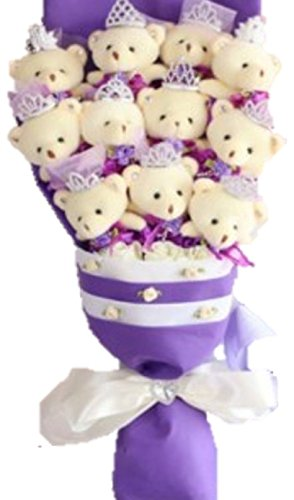 「Shikyou」 Cute Bear Bouquet Purple Wedding