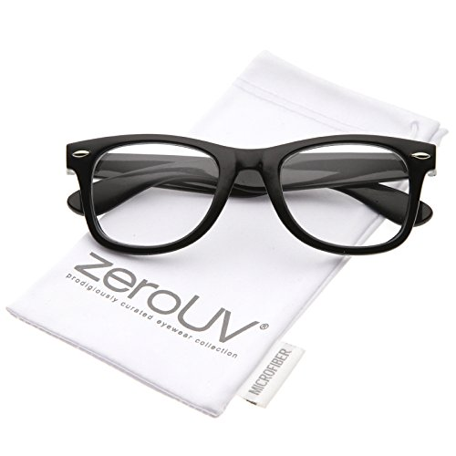 zeroUV - Classic Thick Square Clear Lens Horn Rimmed Eyeglasses 50mm (Black / - Rimmed Square Glasses